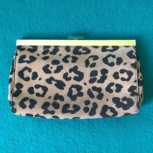 J Crew Factory Leopard-Print Suede Leather Clutch